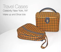 flea-finds_travel-cases made by Celebrity of New York, NY Lovely houndstooth fabric in orange and navy