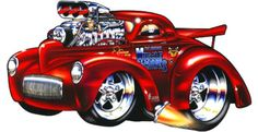 A hot rod is a specific type of automobile that has been modified to produce more power. Cartoon Car Drawing, Cartoon Pics, Cartoon Art, Car Art, Art Cars, Weird Cars, Cool Cars, Hot Rods, Cool Car Drawings