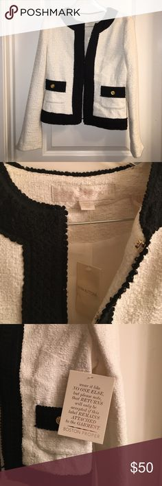 Never worn Boston Proper jacket Boston Proper jacket with tags attached. 5 clasps along front of jacket to button it up if desired. Off white/ivory with silver specks and black lining along edges. Boston Proper Jackets & Coats Blazers