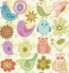 Dibujos infantiles con animales, flores y plantas en formato vectorial