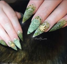 Evon Vuong, owner of Le'von Nail Spa, had an intricate take on the weed nails trend using glitter and tiny gold leaves. One follower commented: 'Those are badassery at its f***ing finest'