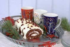 Christmas Log with cream cheese filling and white chocolate