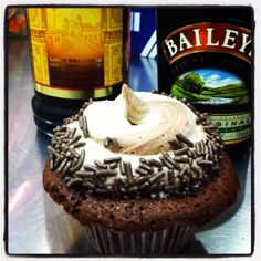 Mudslide cupcake with swirled Kahlua and Baileys frosting.