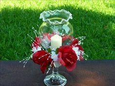 The world's catalog of creative ideas Candle Centerpieces, Wedding Centerpieces, Wedding Decorations, Christmas Decorations, Quinceanera Centerpieces, Quinceanera Party, Quince Decorations, Deco Table, Anniversary Parties