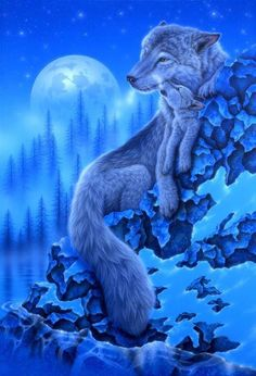 Moonlight Wolves 1000 Piece Ravensburger Jigsaw Puzzle alpha female wolf and her young cub perched atop a snowy ledge by popular Japanese artist Kentaro Nishino Beautiful Wolves, Animals Beautiful, Cute Animals, Wolf Photos, Wolf Pictures, Fantasy Wolf, Fantasy Art, Tier Wolf, Native American Wolf