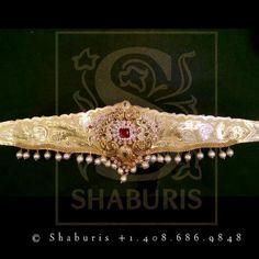 Vanki Designs Jewellery, Vaddanam Designs, Indian Gold Jewellery Design, Pearl Necklace Designs, Jewelry Design Earrings, Gold Earrings Designs, Gold Jewelry, Bridal Earrings, Wedding Jewelry