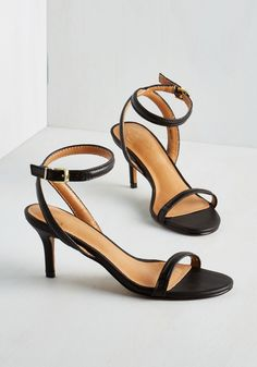 Wow We're Talkin' Heel in Noir - Mid, Leather, Black, Solid, Prom, Wedding, Party, Better, Strappy, Minimal, Variation