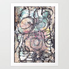 Sketchy Multicolor Swirls Art Print by wiggelhevin - $15.50