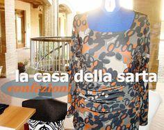la casa della sarta: Confezioni maglie, fantasia blu, grigio, e arancio...