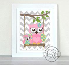 Owls Nursery art  Owls with Swing Print  wall art  by MuralMAX, $20.00 #OWL #nurserydecor #GirlsRoomDecor