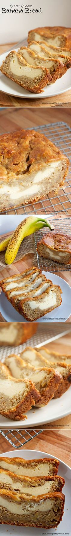 Cream Cheese Banana Bread: Have you tried the whole cream cheese inside of bread thing? It makes a bread like pumpkin or banana taste a little like cheesecake; and I love cheesecake! But it's also ~such~ an easy & fun way to change up your banana bread. Just grab a decadent slice & go!