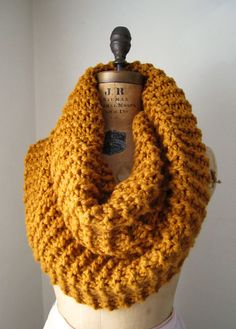 Super Snuggly chunky knit cowl Amber. Infinity by Happiknits