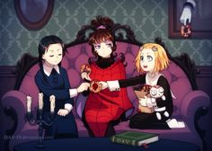 """Creepy party by DAV-19.deviantart.com on @DeviantArt """"Wednesday Addams from """"Addams family"""", Lydia Deetz from """"Beetlejuice"""" and Lenore with Ragamuffin from """"Lenore, The Cute Little Dead Girl"""""""""""