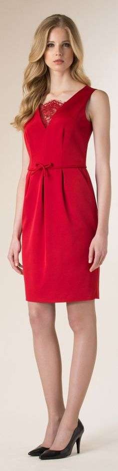 Luisa Spagnoli 2015/16 red dress women fashion outfit clothing style apparel @roressclothes closet ideas