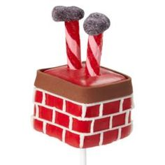Good old Santa is making his way down the chimney, as best he can! Fun cake pop covered in Red Candy Melts® candy chimney trimmed with Chocolate Ready-To-Use Rolled Fondant.