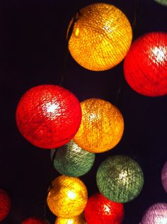 20 x Reggae Color tri color red green yellow cotton ball string light for party decoration hanging lantern. $12.99, via Etsy.
