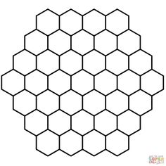 Hexagon Honeycomb Tessellation coloring page from Tessellations category. Select from 24104 printable crafts of cartoons, nature, animals, Bible and many more.
