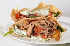 Greek Crockpot Lamb Pita Recipe, from Daily Unadventures in Cooking