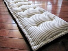 Bench Pad Custom Bench Cushion Ticking Stripe by GratefulHome Diy Mattress, Daybed Mattress, French Mattress Cushion Diy, Window Seat Cushions, Bench Cushions, Diy Cushion Bench, Loft Flooring, Floor Seating, Ticking Stripe