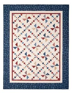 Do it in baby quilt colors Patriotic Valor Quilts Quilt Kit Whirl-A-Jig Red White Blue Fabric