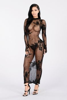 - Available in Black - Mock Neck - Sheer - Allover Lace - Maxi Length - G String Pantie Included - All Lingerie FINAL SALE - 100% Nylon