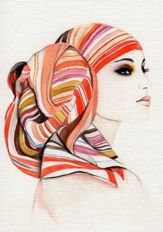 Love this #illustration by Amilka | The scarf pattern is fabulous mix of colour.