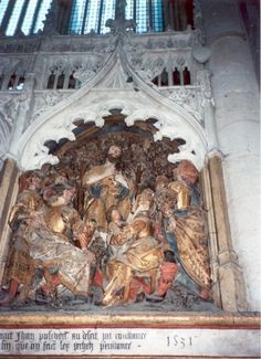 Johannes de Doper.. 1531. Steensculptuur kooromgang. Frankrijk, Armiens, kathedraal Notre Dame. Johannes preekt in de woestijn (Lukas 3, 1-14).