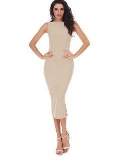 Hollow Out Sleeveless Slit Bandage Dress - Apricot S