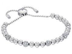 Michael Kors Blush Rush Pave Adjustable Bracelet (Silver/Clear) Bracelet