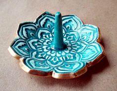 Ceramic Lotus Ring Holder Bowl gold edged Malachite by dgordon