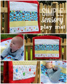 It's a Long Story: Homemade Sensory Play Mat. Loops to connect toys. Quilt Baby, Sewing For Kids, Baby Sewing, Sewing Toys, Baby Play, Baby Toys, Homemade Baby Gifts, Patchwork Baby, Sensory Toys
