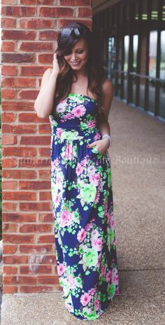 Image of Navy Floral Maxi Dress