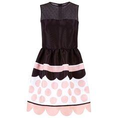 Red Valentino Polka Dot Skater Dress ($910) ❤ liked on Polyvore featuring dresses, mesh inset skater dress, purple skater dress, polka dot dress, skater dress and mesh insert skater dress
