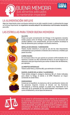 Alimentos que te ayudarán a tener buena memoria - Infografías y Remedios. #infographic #infografía #memoria