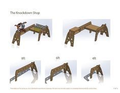 Tri-Horses are shaped like saw horses and can be used as such, but are best suited for use as saw stands or supports for work tables. Workbench Plans, Woodworking Workbench, Woodworking Workshop, Easy Woodworking Projects, Woodworking Shop, Workshop Layout, Workshop Plans, Diy Workshop, Adjustable Sawhorse