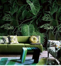 Dark Green Abstract Leaves Wallpaper, Wall Mural, Floral Wall Art,Wall Decal, Emerald Leaves Wall S Green Leaf Wallpaper, Wallpaper Wall, Leaves Wallpaper, Bedroom Wallpaper, Tropical Wallpaper, Painting Wallpaper, Custom Wallpaper, Tropical Home Decor, Tropical Plants
