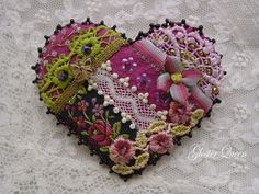 Victorian looking crazy quilt heart brooch by GlosterQueen, $37.00