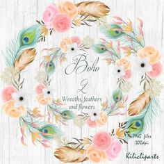 Wreaths Boho, Wedding clipart, feathers  flowers  Wreaths, Floral Wreaths, flowers, digital and Watercolor, peacok feathers, clipart.