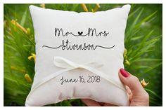 Mr & Mrs pillow Personalized Ring bearer pillow Wedding ring
