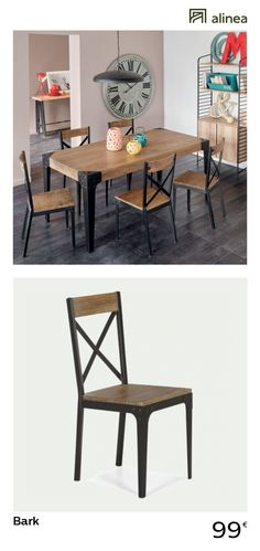 alinea: bark chair industrial style elm and metal furniture dining room and kitchen chairs – – furniture and decoration inspiration by emelinetomada Kitchen Chairs, Dining Room Chairs, Dining Room Furniture, Dining Table, Industrial Style, Industrial Metal, Metal Furniture, Interior, Design