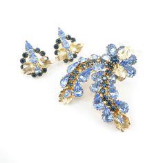 Vintage Blue Rhinestone Brooch Earrings Set by RETRORAGEVICTORIA