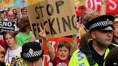 People demonstrating against Cuadrilla's fracking operations