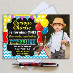 Curious George birthday party photo invitation customized with