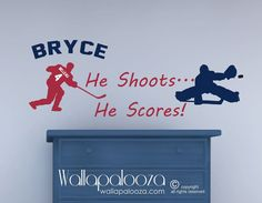 Hockey Wall Decal - Custom NAME and Jersey NUMBER - He Shoots He Scores Decal - Kids Room Sports on Etsy, $30.94
