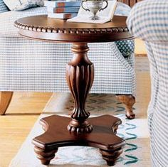 End Table Round Pedestal End Table. Love this.