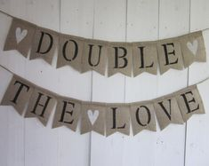 Twins Baby Shower Banner - Twice Blessed Bunting - Burlap Twins Shower Decor - Baby Shower Rustic Decor Sign - Double Blessing Garland - Party - Erin & Lydia Baby Shower - Twin Baby Shower Decorations, Baby Shower Centerpieces, Baby Shower Themes, Shower Ideas, Fiesta Baby Shower, Baby Shower Niño, Baby Boy Shower, Souvenirs Ideas, Bunting