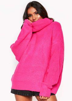 78f10ab7ed Missyempire - Neon Pink Roll Neck Oversized Knit Jumper Xmas Jumpers