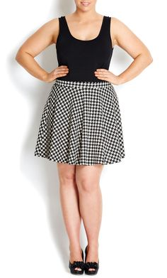 City Chic - HOUNDSTOOTH PONTE SKATER SKIRT - Women's plus size fashion #citychic #citychiconline #sweetsteals #plussize