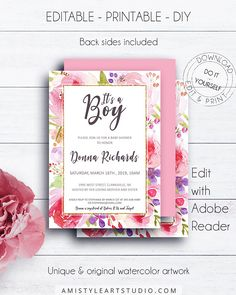 It's a Boy Baby Shower Invitation Template, with charming and vivid watercolor floral design in trendy style.This lovely boy baby shower invitation template listing is for an instant download EDITABLE PDF so you can download it right away, DIY edit and print it at home or at your local copy shop by Amistyle Art Studio on Etsy
