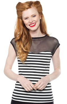 STEADY STRIPED DELINQUENT TOP BLK/WHT - Sourpuss Clothing